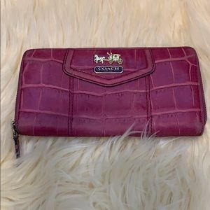 Pink Coach Leather Accordion Wallet